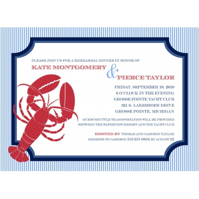 Nautical Seersucker Sailing Lobster Printable Invitation